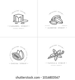 Vector set design monochrome templates logo and emblems - syrups and toppings-caramel, almond, cocoa, vanilla. Food icon. Logos in trendy linear style isolated on white background