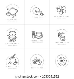 Vector set design monochrome templates logo and emblems - organic herbs and teas . Different teas icon. Logos in trendy linear style isolated on white background