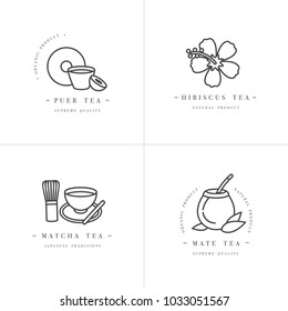 Vector set design monochrome templates logo and emblems - organic herbs and teas . Different teas icon-puer, hibiscus, mate and matcha. Logos in trendy linear style isolated on white background