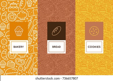 Vector set of design templates and elements for bakery packaging in trendy linear style - seamless patterns with linear icons related to baking, cafe, cupcake shop