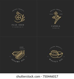 Vector set design templates and emblems - healthy and cosmetics oils - flax seed, walnut, sesame and canola. Logos in trendy linear style, Golden color