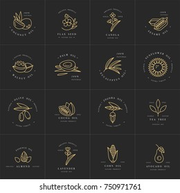 Vector set design templates and emblems - healthy and cosmetics oils. Different natural, organic oils. Logos in trendy linear style. Golden color