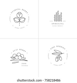 Vector set design templates and emblems - healthy eco food - camu camu, spirulina, goji berry and acai berry. Detox and weightloss supplements. Logos in trendy linear style