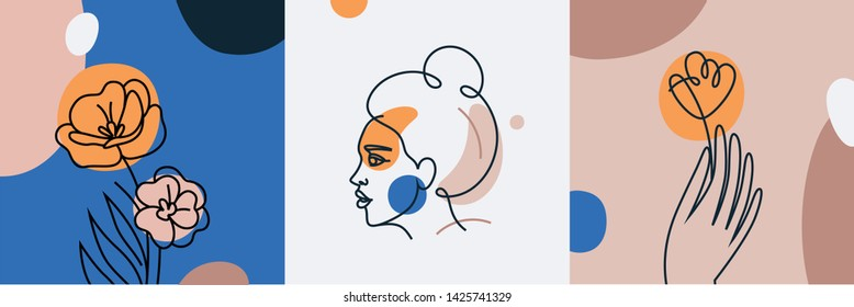 Vector set of design templates and illustrations in minimal linear style - minimalistic modern art - female portrait and flowers - abstract t-shirt print  - beauty and fashion concept