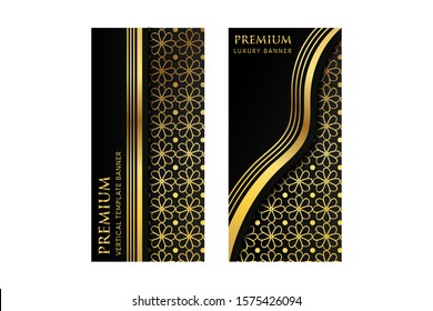 Vector set of design vertical banner, luxury packaging for the product. Vertical gold cards on a black background. Templates vintage ornament straight and wave line. flower pattern element.