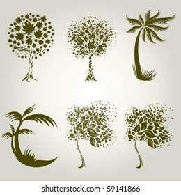 Vector set of designs with decorative tree from leafs. Thanksgiving
