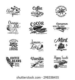 Vector set of Dessert Spices logos, labels, badges and design elements. Retro.Vintage illustrations.