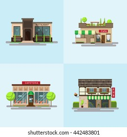 Vector set of detailed flat design city public buildings. Icon set or infographic element set representing restaurant, cafeteria and cafe