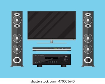 Vector set of detailed home theater electronics. tv, amplifier, loudspeakers and media player. vector illustration in flat style on blue background