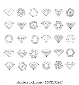 Vector set of diamond design elements - cutting samples.