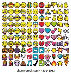 Vector Set Of Different 110 Emojis Isolated On White Background