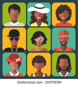 Vector set of different african american women and man app icons in trendy flat style