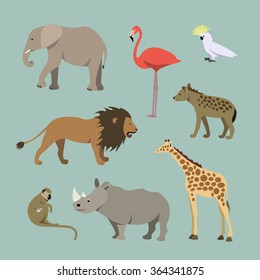 Vector Set Of Different African Animals. Animals of the African savanna: lioness, elephant, rhinoceros, giraffe, flamingo, monkey, hyena illustration