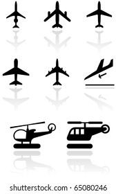 Vector set of different airplane and helicopter symbols. All vector objects are isolated. Colors and transparent background color are easy to adjust.