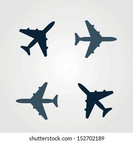 Vector set of different airplane icons