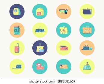 Vector set of different bags. Backpack, briefcase, suitcase, bag. Icons for a handbag shop. All elements are isolated