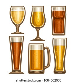 Vector set of different Beer glassware, 6 full glass cups with yellow and brown fizzy beverages various shape, collection icons of alcohol drinks lager and pilsner beer isolated on white background.