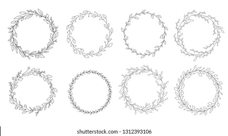 Vector set of different black and white silhouette circular laurel foliate and wreaths. Design elements for invitations, quotes, greeting cards, blogs and more.