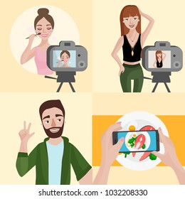 Vector set of different bloggers: food, travel, beauty and fashion. Young bloggers recording video.