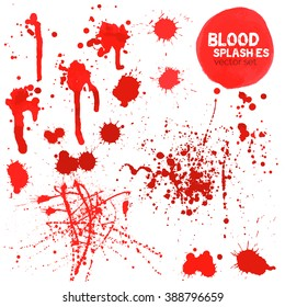 Vector Set of different blood splashes, drops and trail. Isolated on white background. All elements grouped, no effects