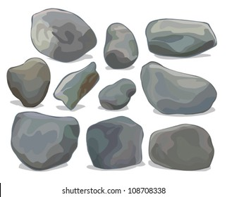 vector set of different boulders and stones isolated on white