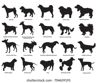 Vector set of different breeds dogs silhouettes isolated in black color on white background. Part 3