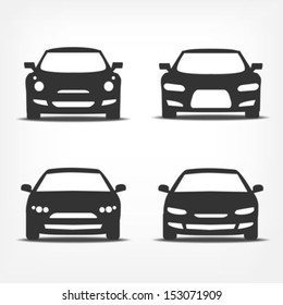 Vector set of different car symbols front view