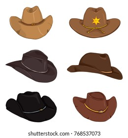 Vector Set of Different Cartoon Color Cowboy Hats