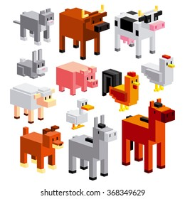 Vector Set Of Different Cartoon Farm Animals Isolated