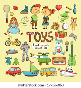 vector set of different cartoon toys, doll soldiers teddy bear aliens hare helicopter and bike