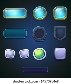 Vector set of a different colored buttons. Bright image to create original video or web games, graphic design, screen savers.