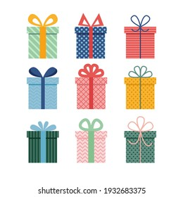 Vector set of different colorful wrapped gift boxes. Christmas gift boxes. Party gifts.