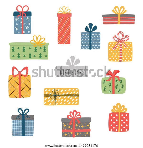 Vector set of different colorful wrapped gift boxes. Christmas gift box.