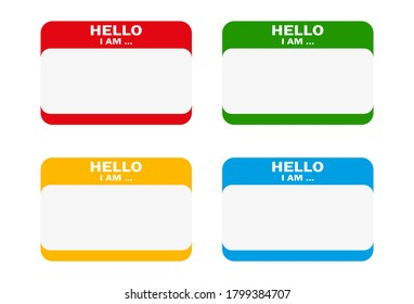 """Vector set of different colors blank """"Hello i am"""" stickers."""