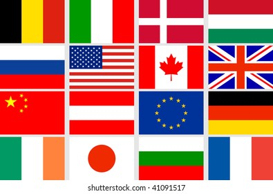 Vector set different countries flags