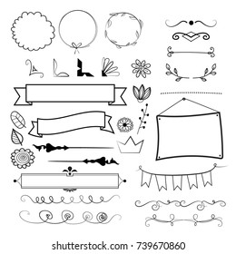 vector set of different decorative elements for page, invitation and greeting cards design.
