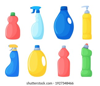 Vector set of different detergents. Cleaning products multicolored bottles, sprays. Illustration isolated on white background.