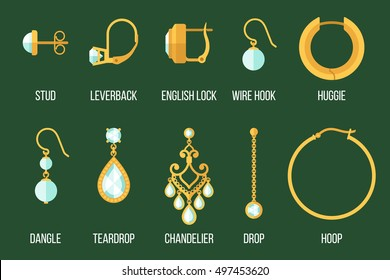 Vector set of different earring styles and closure types. Flat style.