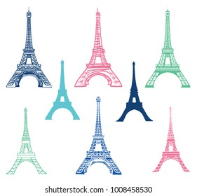 Vector set of different Eiffel Tower landmarks icons of Paris, France with Silhouettes. Landmark and structure infographic elemements.