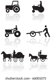 Vector set of different farmer symbols. Objects are isolated. Colors and transparent background color are easy to adjust. Symbols can be easily used individually, apart from the background image.