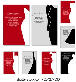 Vector set with different fashion business cards. Business cards with dress for your design