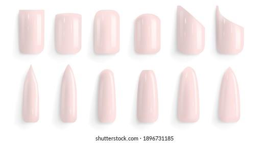 Vector set of different fashion nail shapes. False nail polish design mockup templates. Manicure, fingernails