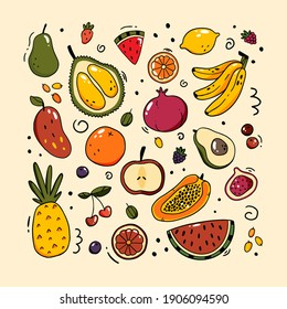 Vector set of different fruits and berries in doodle style. Simple vector doodle illustration. Fruits isolated on background.