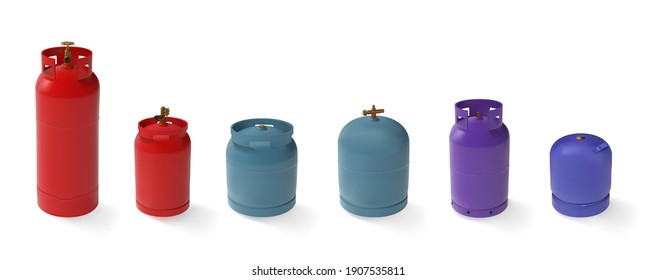 Vector set of different gas tanks. LPG natural gas cylinders with different shapes and colors. 3d mockup propane butane container for compressed gas