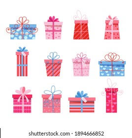 Vector set of different gift boxes. Flat design. eps 10