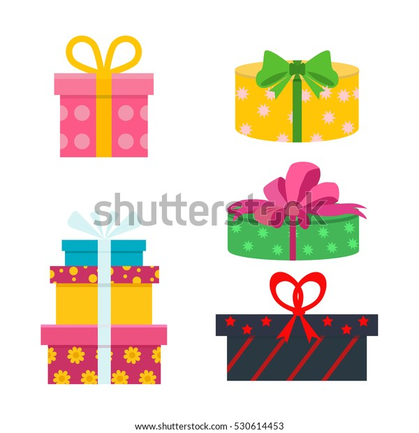 Vector Set Different Gift Boxes Flat Stock Vector Royalty