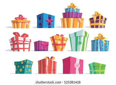 Vector set of different gift boxes.Beautiful present box with overwhelming bow. Vector illustration.Christmas gift box.Colorful wrapped gift boxes.Beautiful present box with overwhelming bow.