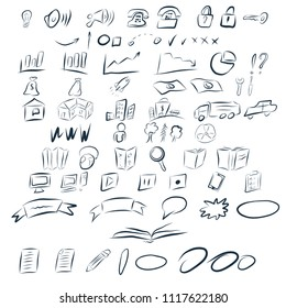 Vector set with Different Hand draw style icons.
