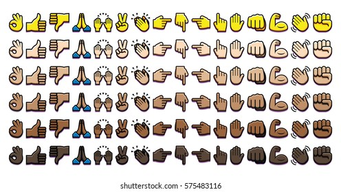 Vector Set Of Different Hand Icons Isolated On White Background