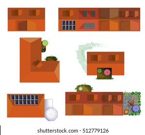 vector set of  different houses with balcony, terrace and winter garden. Top view house. Typical european home with trees and flowers. Houses with solar panel on roofs